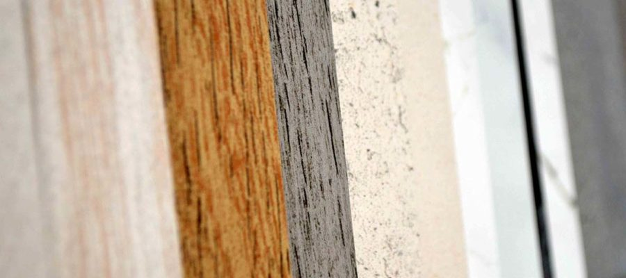 Stone samples in beige, grey and wood