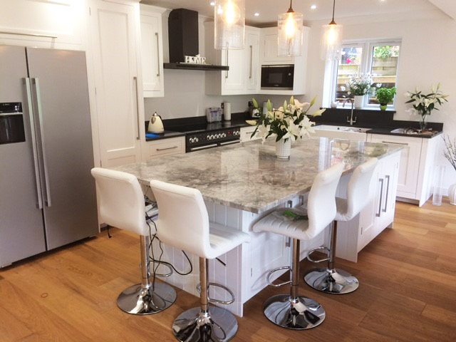 White and grey marble kitchen