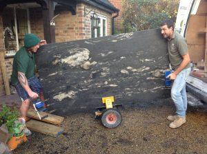 Installng Cosmic Black Leather granite worktops